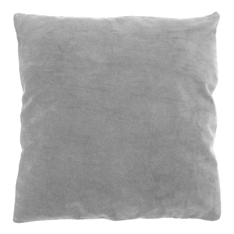 COTTON VELVET/LINEN SQUARE CUSHION - GREY