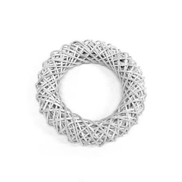 Rattan Wreath White Wash