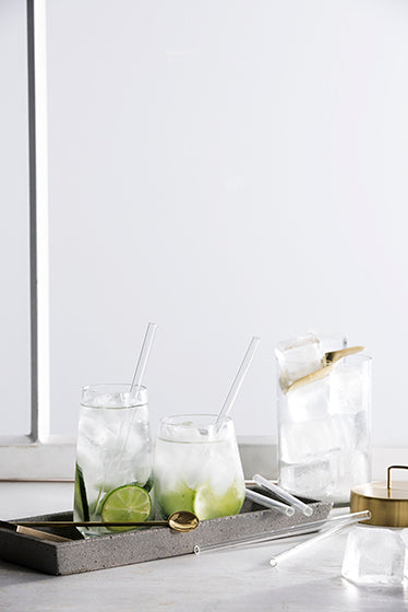 ZAKKIA | Glass Drinking Straws Pack of 6 - Short