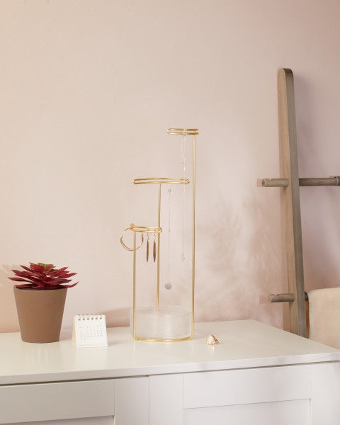 UMBRA | Tesora Jewellery Stand - Glass / Brass