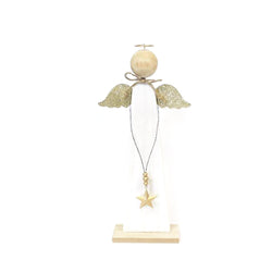 Wood Angel Gold Wings & Star
