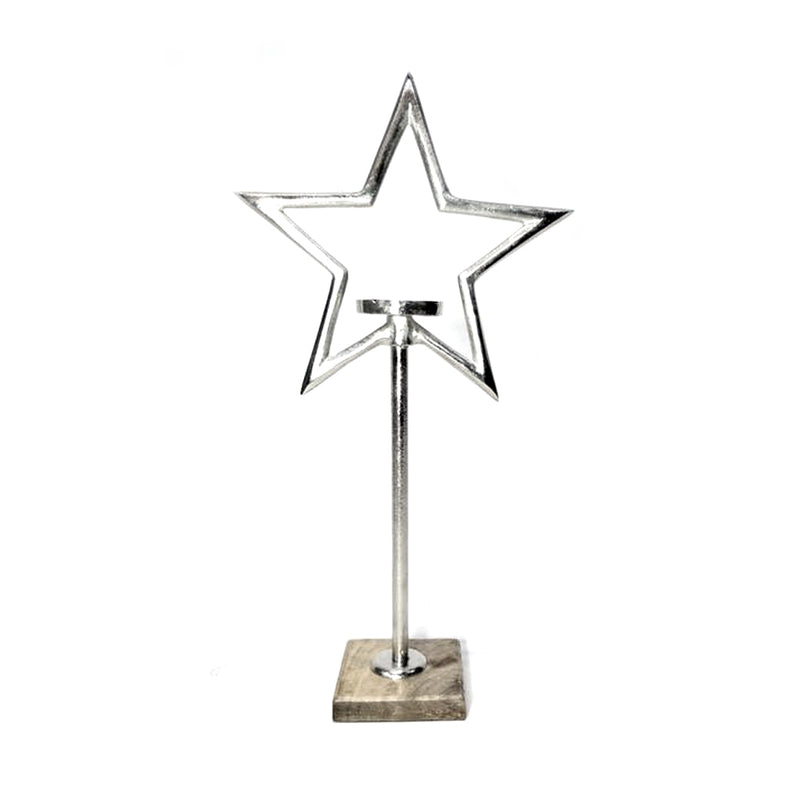 Star Pillar Holder on Wood Base Large