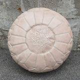 Moroccan Leather Pouf - Nude