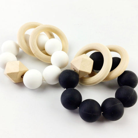 Wood & Silicone Teether - Black