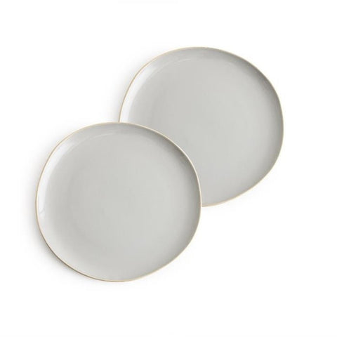 Gold Edged Grey Plates Set of 2
