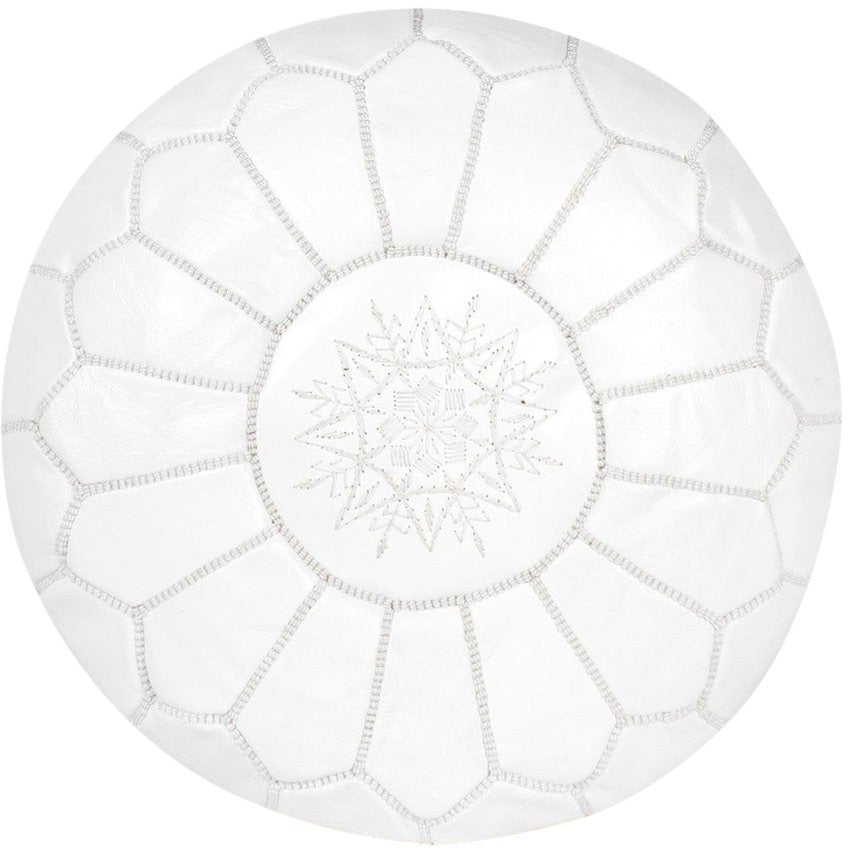 new style d2980 a81fc Moroccan Leather Pouf - White