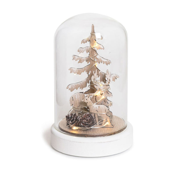 DOME GLASS CHRISTMAS TREE AND REINDEER DECORATION WITH LED LARGE 12X19CM