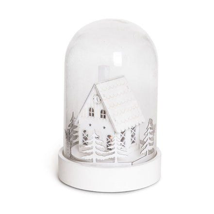 GLASS DOME XMAS HOUSE WITH LED - LARGE