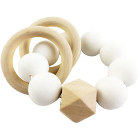 Copy of Wood & Silicone Teether - White