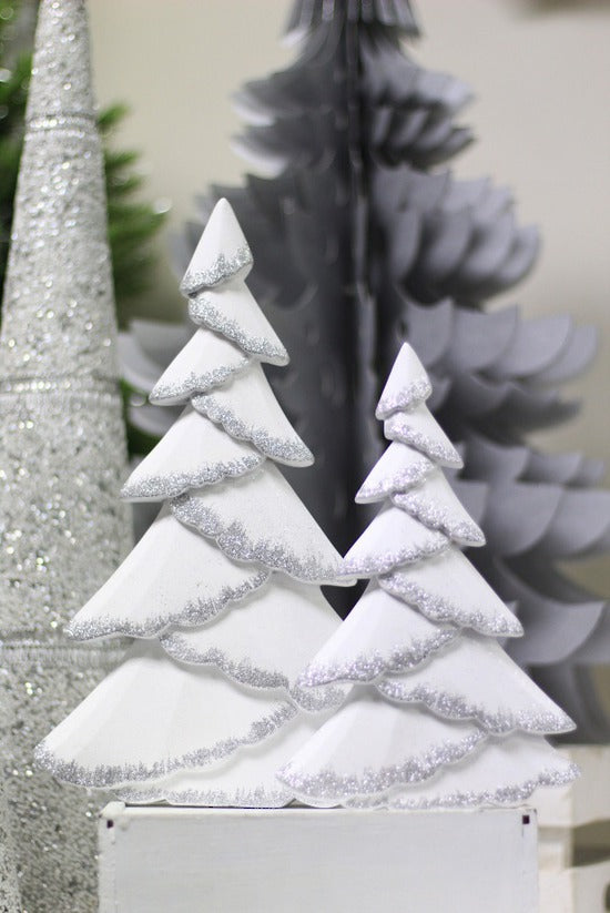 White & Silver Glitter Tree Small