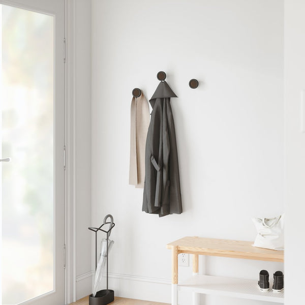 UMBRA | HUB WALL MOUNTED COAT HOOK Set/3 - Black/Walnut