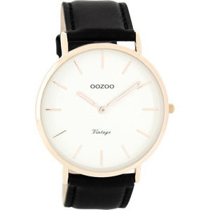 White / Rose Gold Black Leather Strap Watch