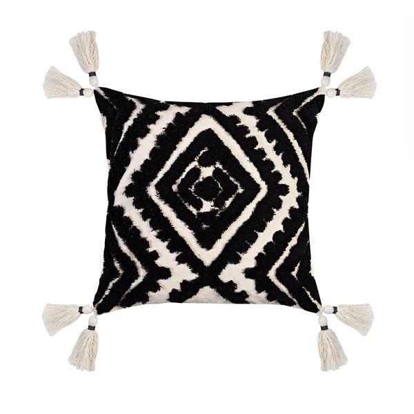 NOMAD DOUBLE DIAMOND CNR TASSLE CUSHION 50X50CM BLACK/NATURAL