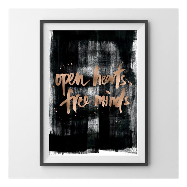 Open Hearts Free Minds Copper Foil Print