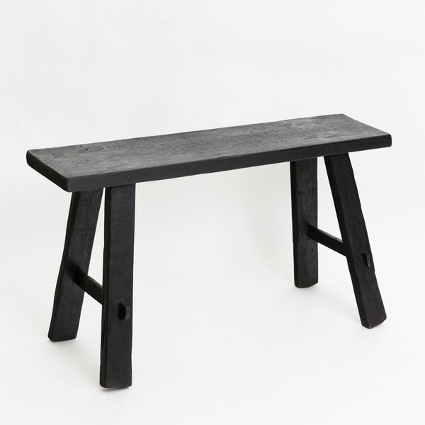 Teak Bench in Black (Medium)