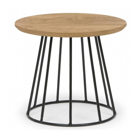 Natural & Black Tapered Side Table