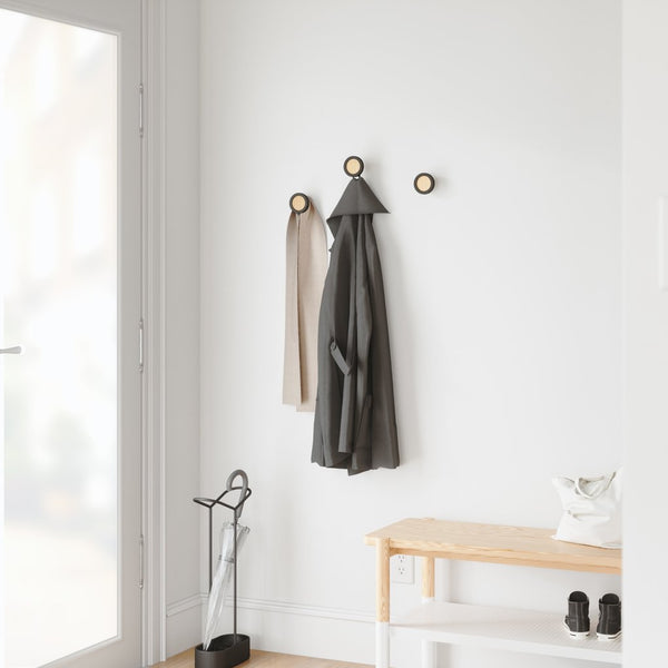 UMBRA | HUB WALL MOUNTED COAT HOOK Set/3 - Black/Natural