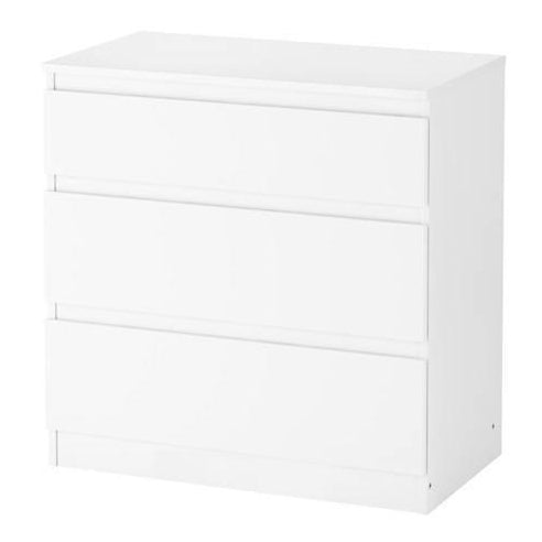 WHITE CHEST OF 3 DRAWERS 70X72CM