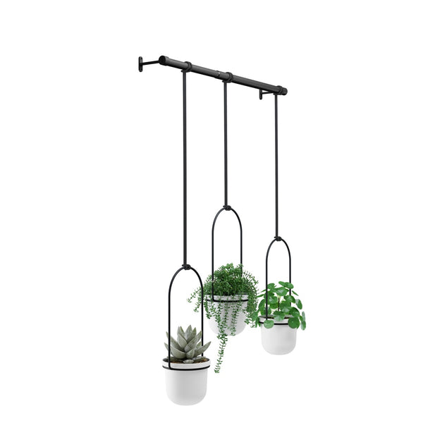 UMBRA | TRIFLORA HANGING PLANTER - White / Black