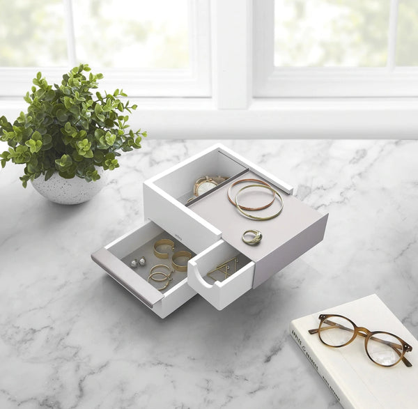 UMBRA | STOWIT MINI JEWELRY BOX WHT/NKL