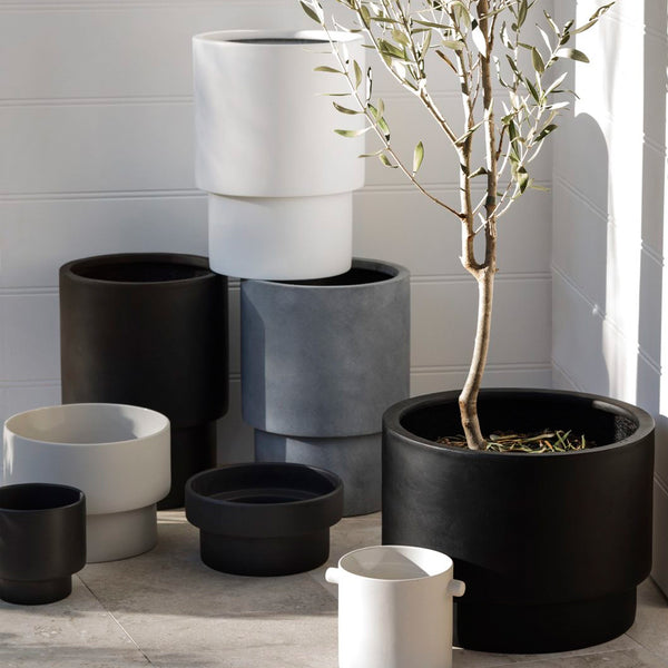 ZAKKIA | Tower Pot Set of 2 - Matte White