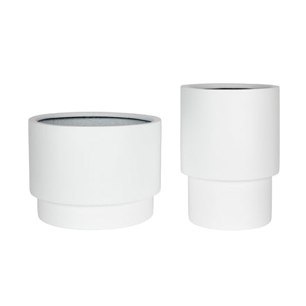 ZAKKIA Tower Pot Set of 2 - Matte White