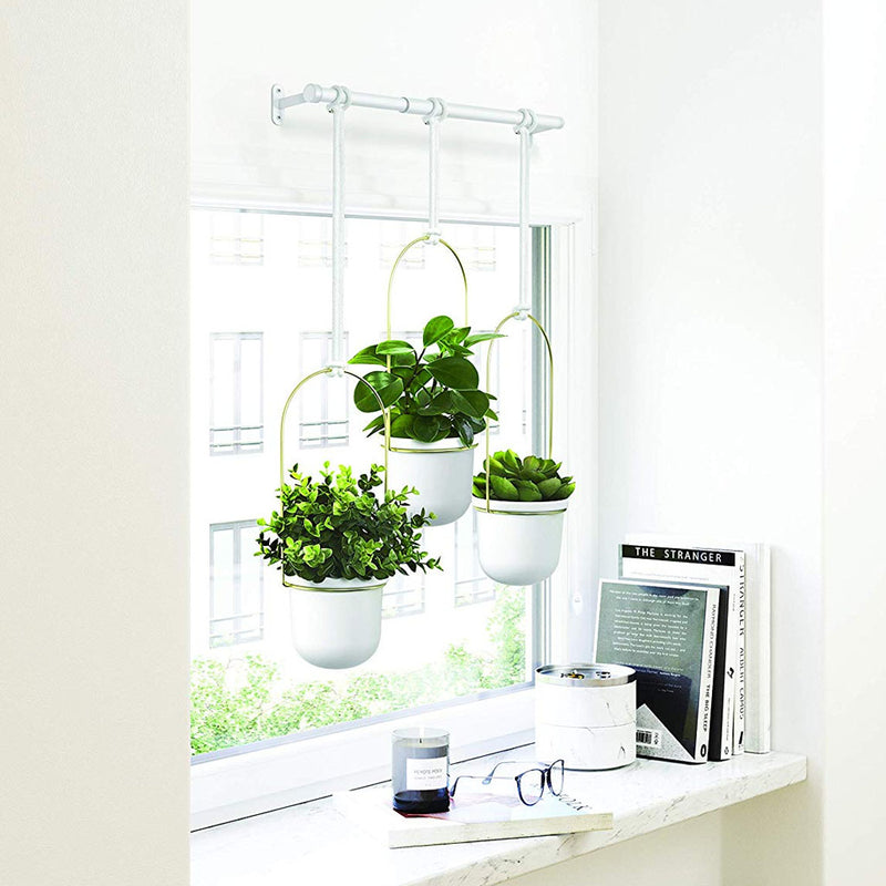 UMBRA | TRIFLORA HANGING PLANTER - White / Brass