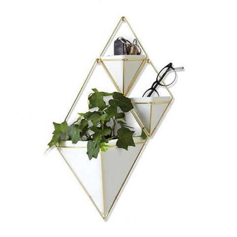 Trigg Wall Vessel | Large - White/Brass