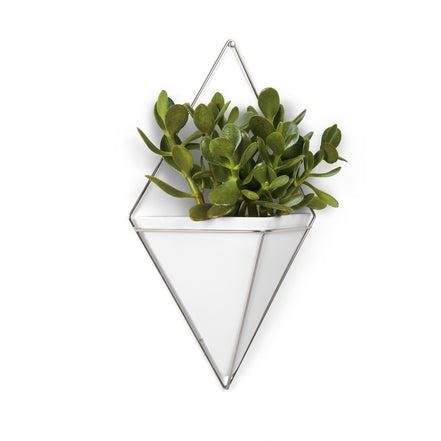 Trigg Wall Vessel | Large - White/Nickel