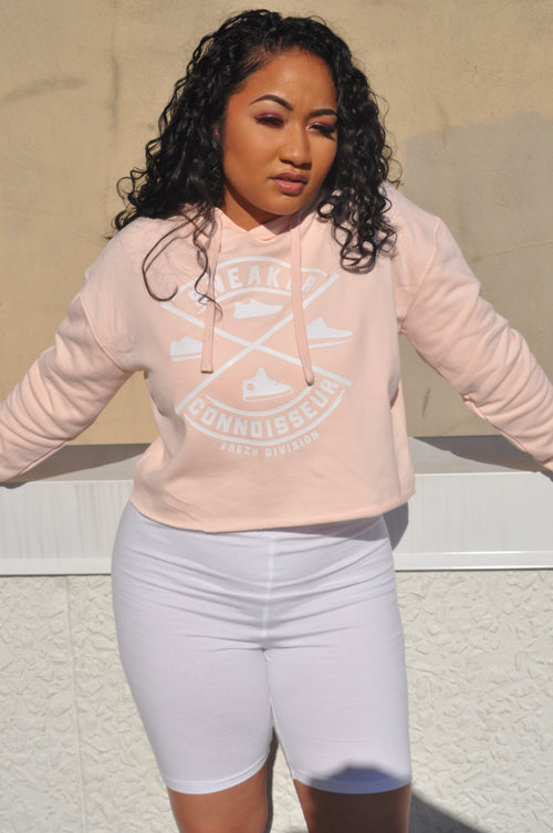 LADIES CROP SNEAKER CONNOISSEUR HOODIE V2 PINK/WHITE