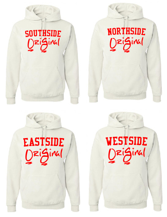 OriGinal WHITE/RED HOODIE  - NORTHSIDE - EASTSIDE- WESTSIDE - SOUTHSIDE