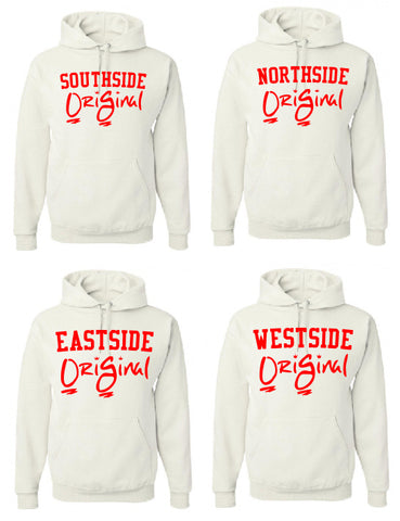 OriGinal BLK/RED HOODIE  - NORTHSIDE - EASTSIDE- WESTSIDE - SOUTHSIDE