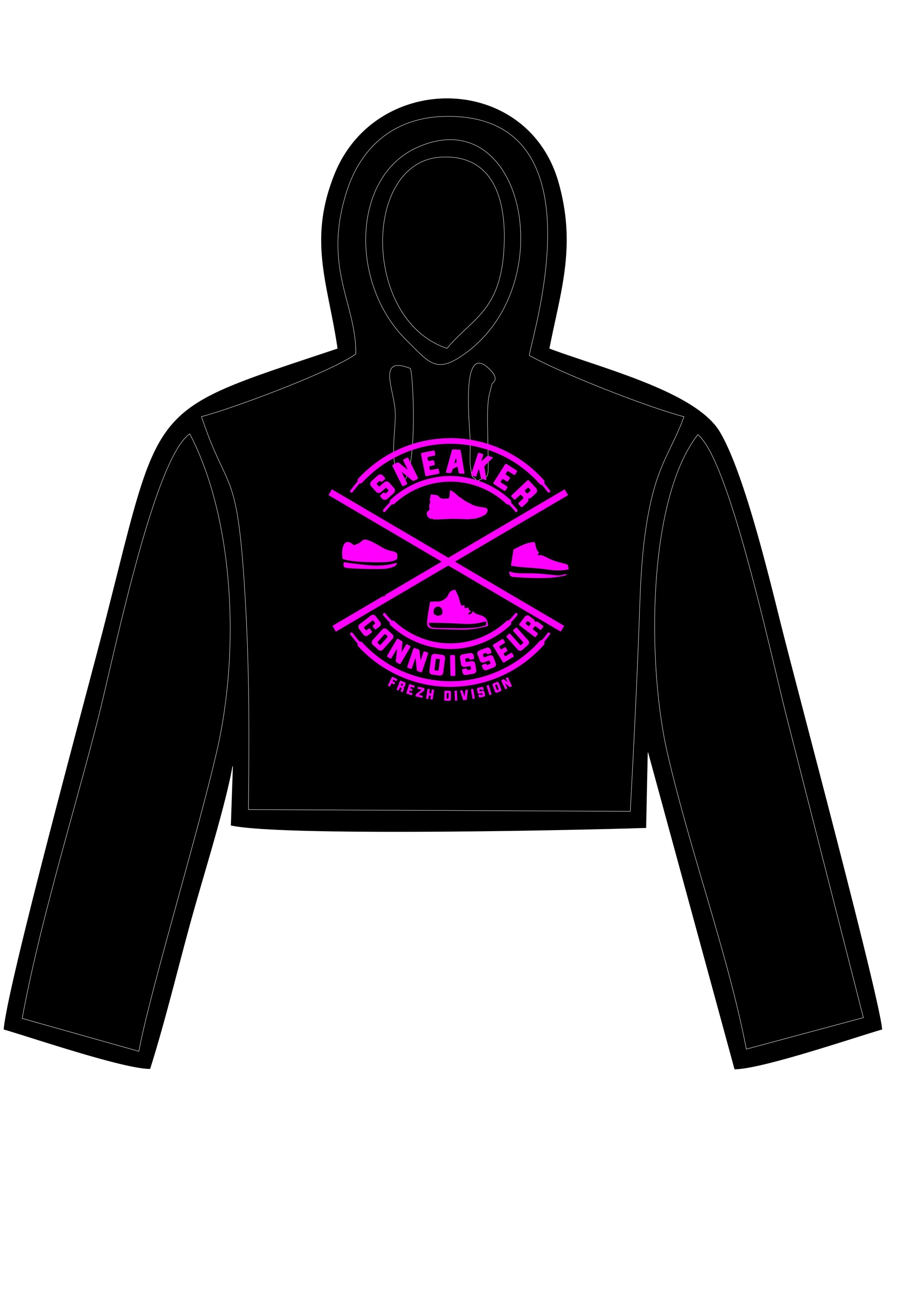LADIES CROP SNEAKER CONNOISSEUR HOODIE V2 BLACK/PINK
