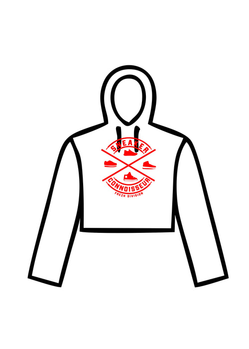 LADIES CROP SNEAKER CONNOISSEUR HOODIE V2 WHITE/RED