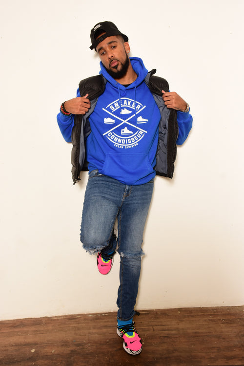Royal blue/white SNEAKER CONNOISSEUR WHITE/ ROYAL HOODIE