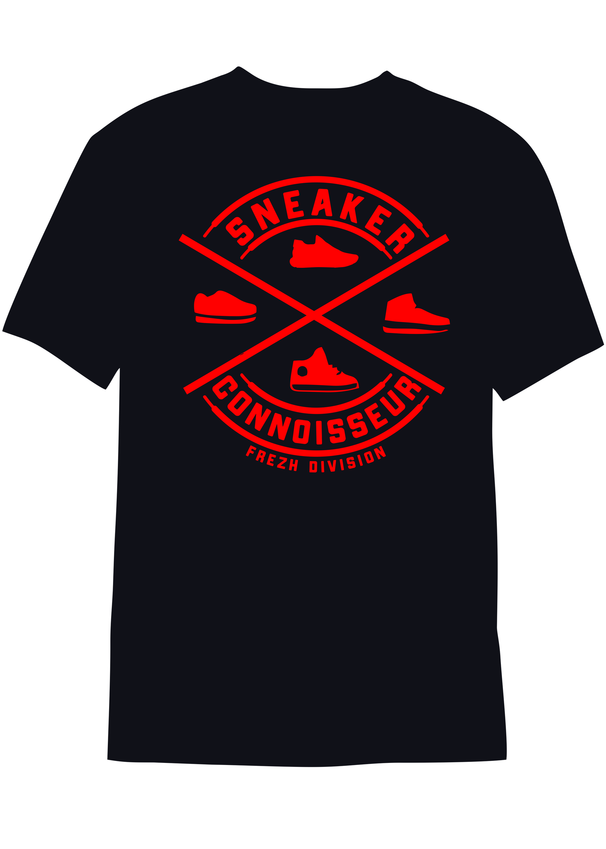 BLACK/RED Sneaker Connoisseur V2 Short Sleeve