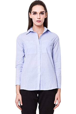 Light Blue Pinstriped Front Pocket Long Sleeved Button Down Shirt