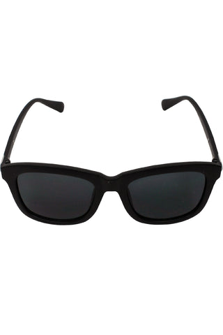 Black Solid Plastic Frame Classic Rounded Style Sunglasses