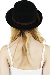 Black Narrow Brimmed Bow Detailed Wool Porkpie Hat