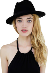 Black Narrow Brimmed Ribbon Detailed Wool Fedora Style Hat