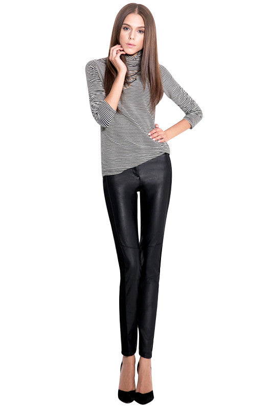 Black Faux Leather Paneled Tuxedo Stripe Cigarette Style Pants