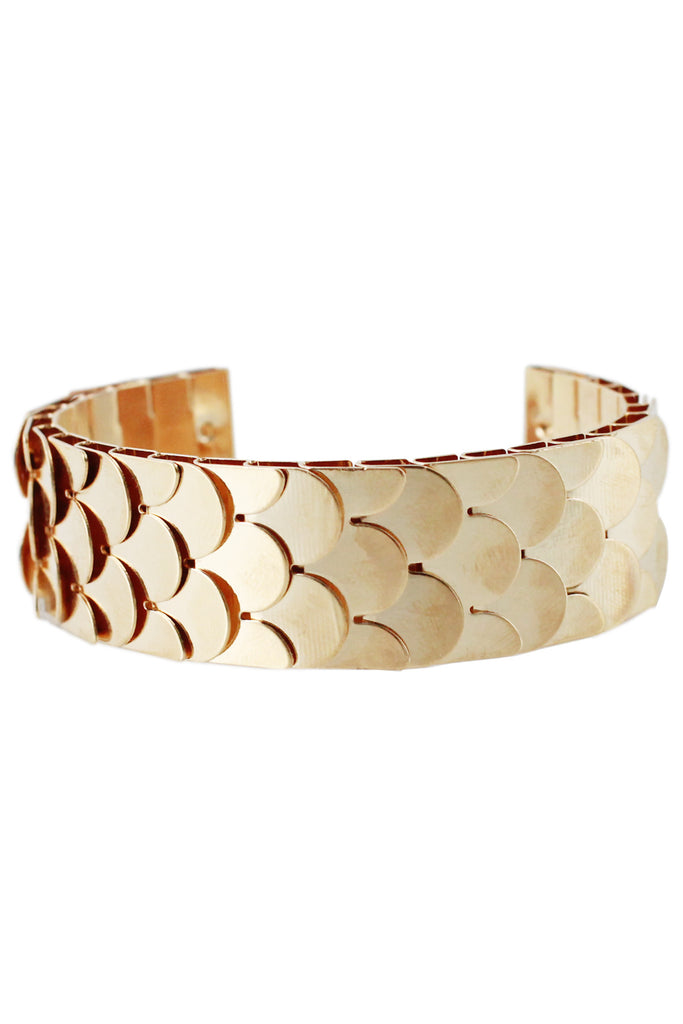 Gold Reptilian Scale Inspired Open Back Cuff Bracelet