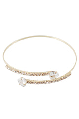 Gold and White Faux Diamond Encrusted Wrap Bracelet