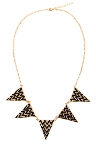 Gold Tone Black Zig-Zag Geometric Triangle Pendant Bib Necklace