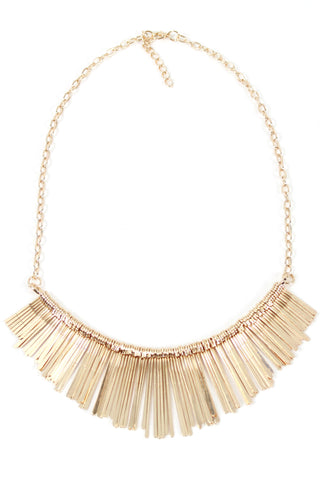 Gold Tone Metal Fringe Tassel Fashion Statement Bib Necklace