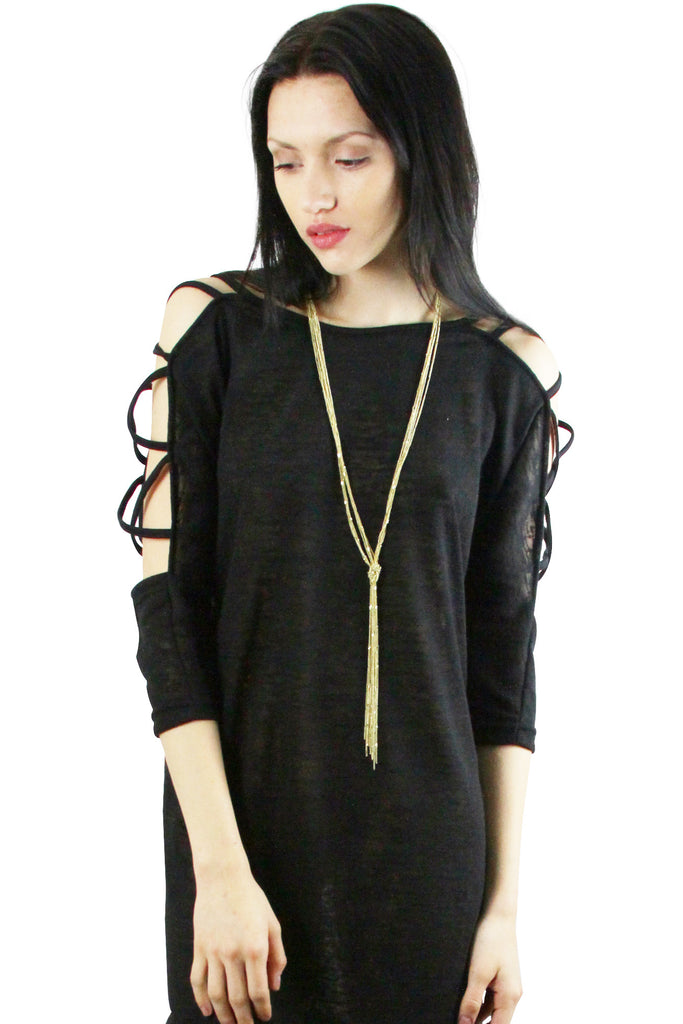 Gold Tone Long Multi Strand Knotted Chain Tassel Necklace
