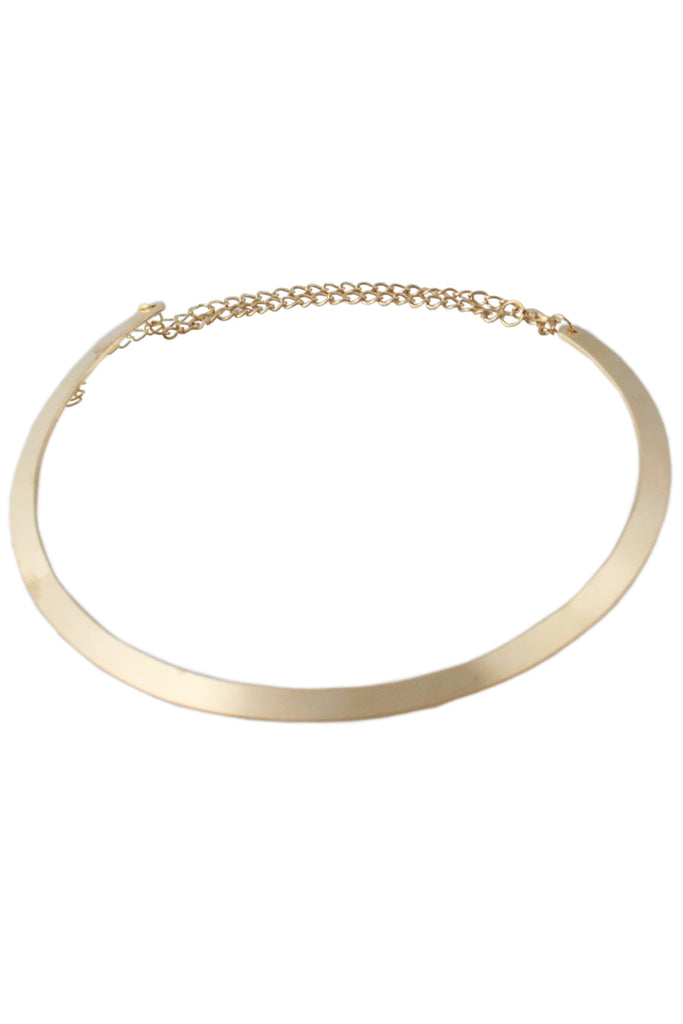 Gold Metallic Chain Link Back Collar Style Necklace