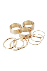 Gold Metallic Multiple Sized Stackable Ring Set