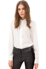 White Solid Pleated Back Long Sleeve Button Down Collared Shirt