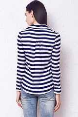 Navy White Horizontal Striped Long Sleeved Collared Button Down Shirt